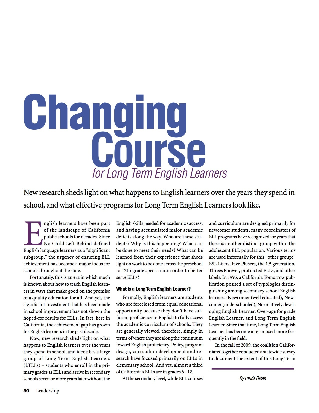 Changing Course for Long Term English Learners
