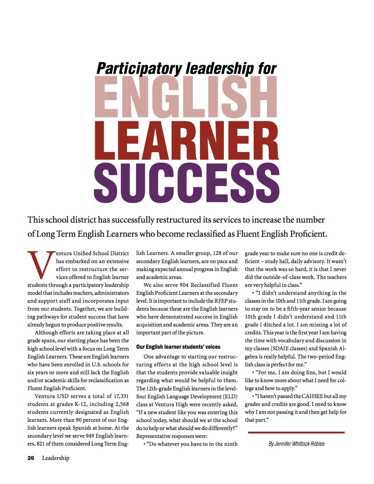 Participatory Leadership for English Learner Success